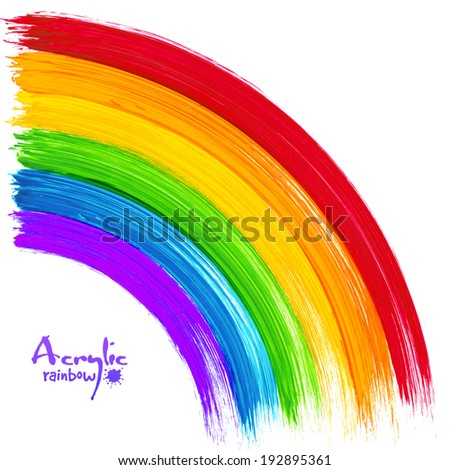acrylic painted rainbow  vector