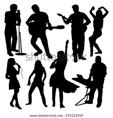 disco people silhouettes set