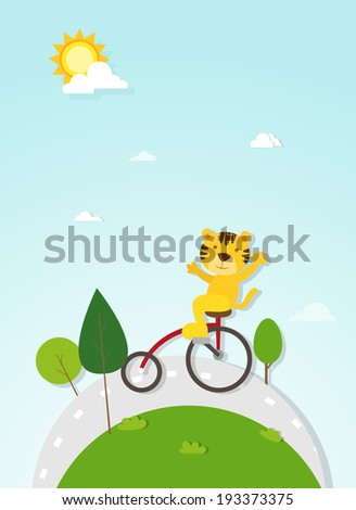 tiger cyclist vector