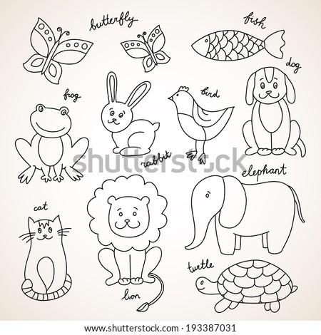 vector hand drawn animals