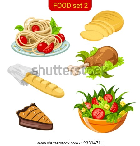 main meal menu vector icon set