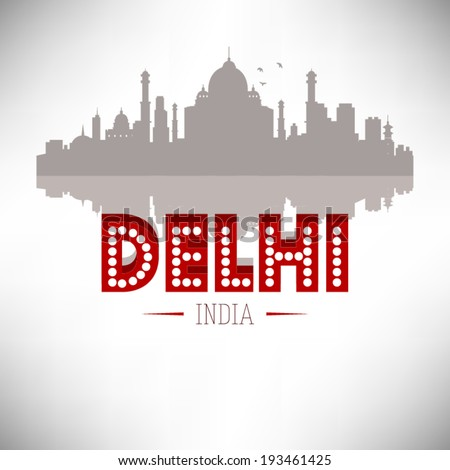 delhi india skyline vector