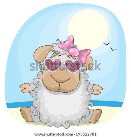 greeting card sheep on the sea