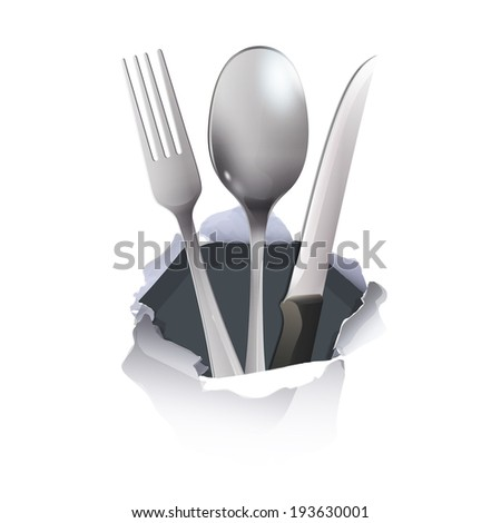 realistic knife  fork and spoon