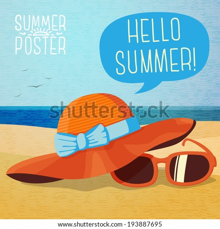 cute summer poster   summer hat
