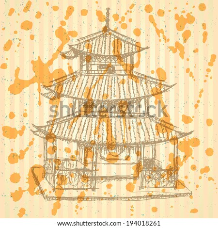 sketch chinese temple  vector