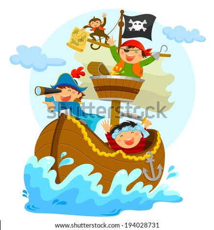 happy pirates sailing in their