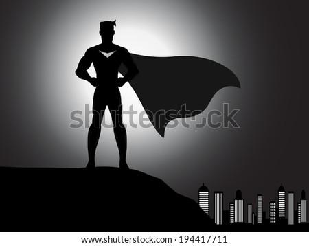 a vector standing superhero