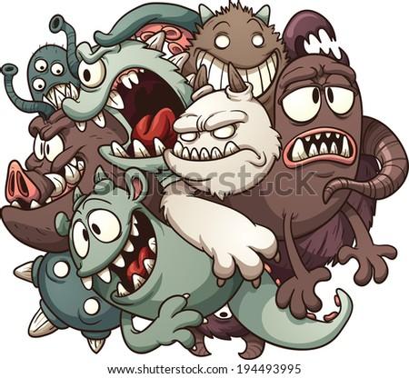 cartoon monsters vector clip