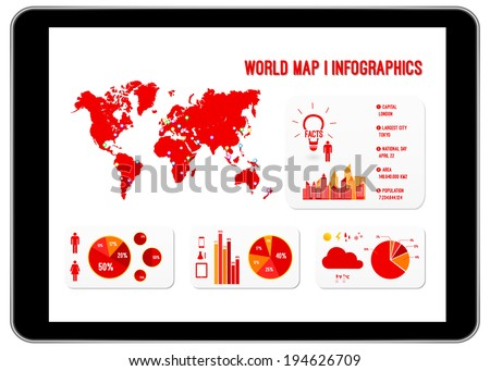 world map infographics on black