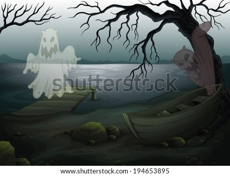 illustration of a spooky place