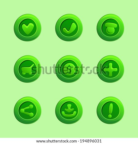 set of green vector elements
