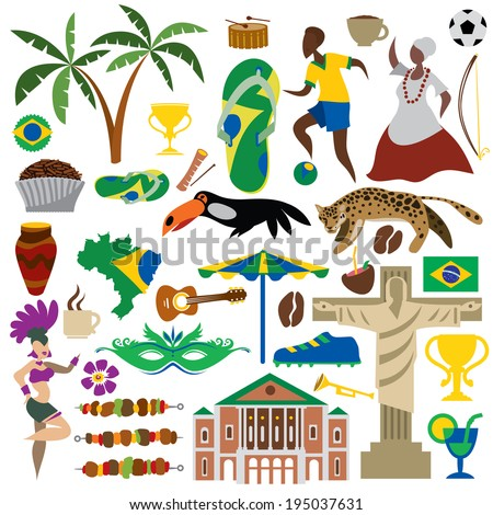 brazil icons  brazilian map