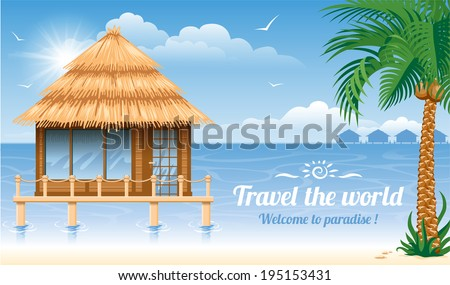 wooden water bungalow on coast