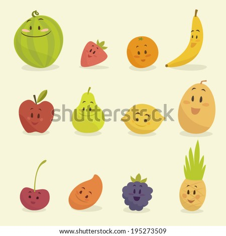 funny cartoon fruits vector