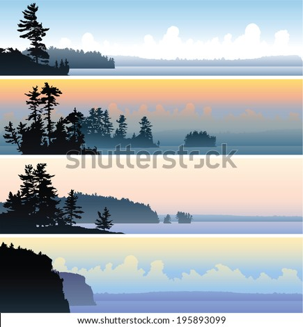 a set of four scenic banner