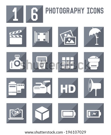 16 photography icons vector