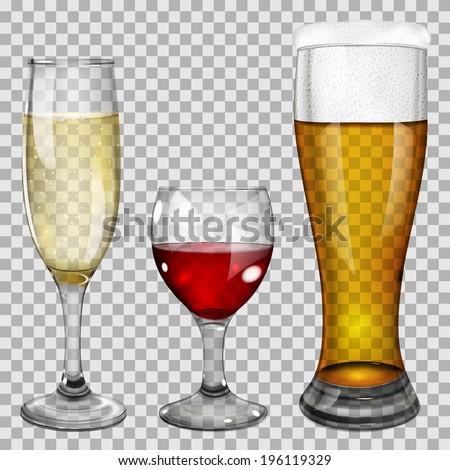 three transparent glass goblets