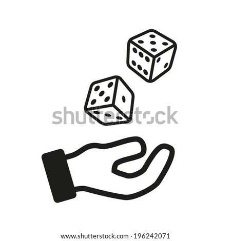 male hand rolling dice isolated