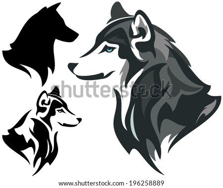 husky dog design    animal head