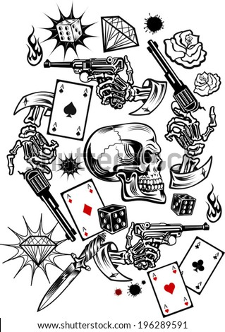 skulls with playing cards and