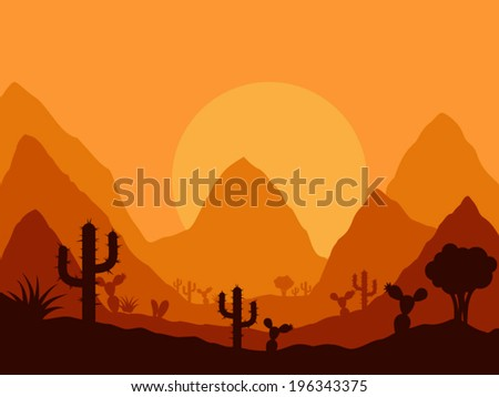 vector mexican sunset landscape