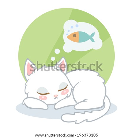 cute cartoon white cat sleeping