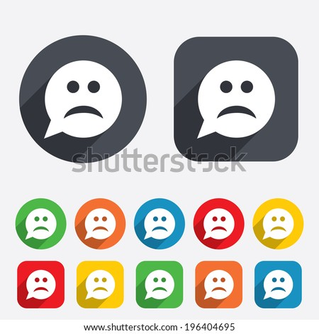 sad face sign icon sadness