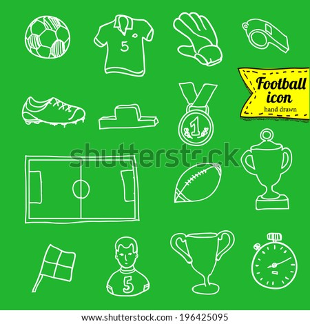 football doodle icon set
