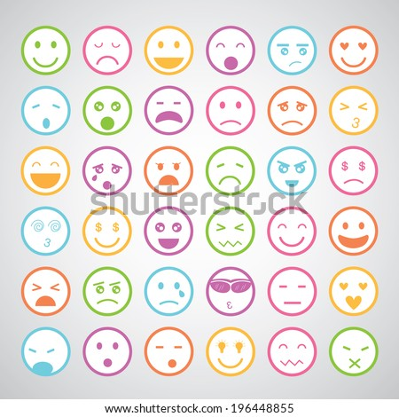 smiley faces icons cartoon set