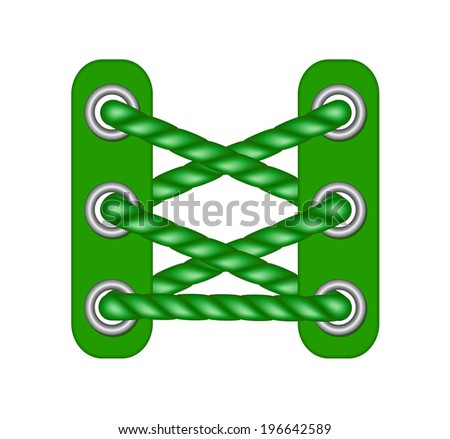 laces in dark green design