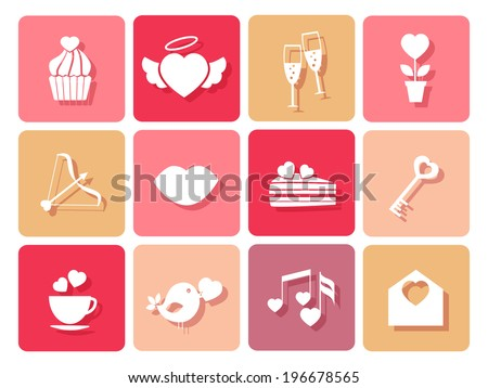 set of romantic vector wedding