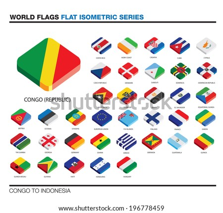 isolated world flags in flat