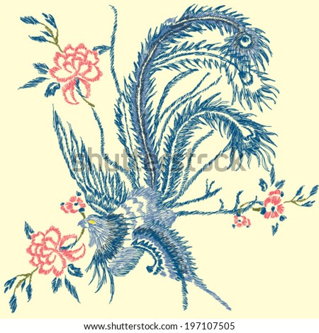 asian bird embroidery