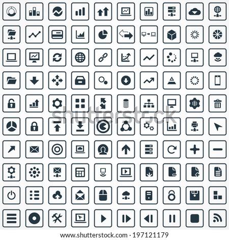 100 big data  database icons