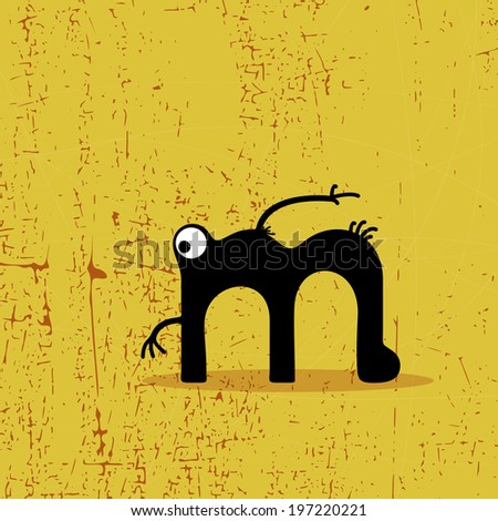 letter m monster on grunge