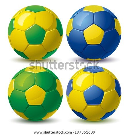 set of soccer balls in yellow