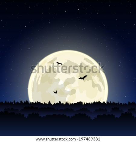 night landscape with full moon
