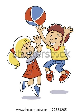 happy children are playing ball