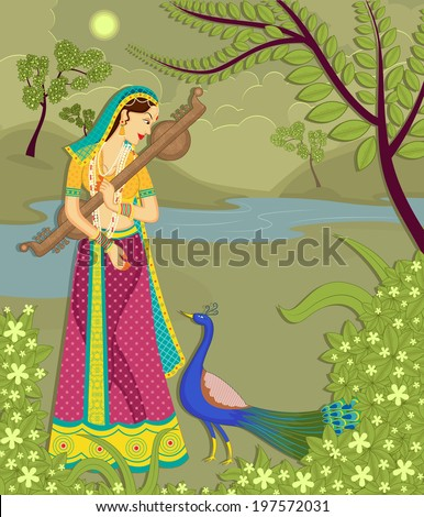 lady with peacock in indian art