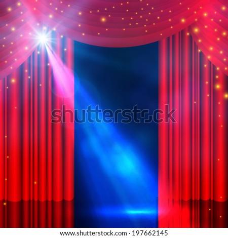 spotlight on curtain with smoke