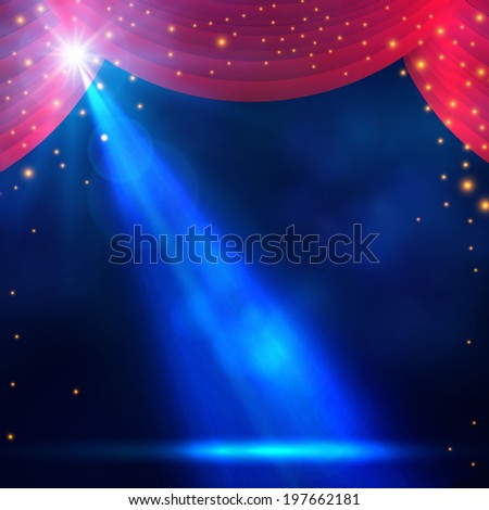spotlight on curtain with smoke