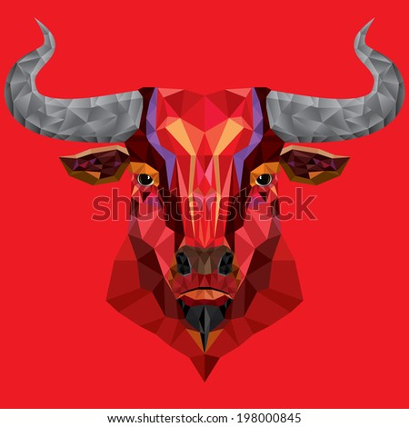 red bull head with geometric