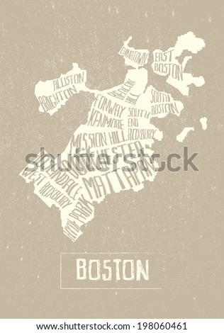 typographical stylized map of