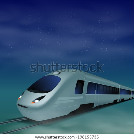 high speed train at night