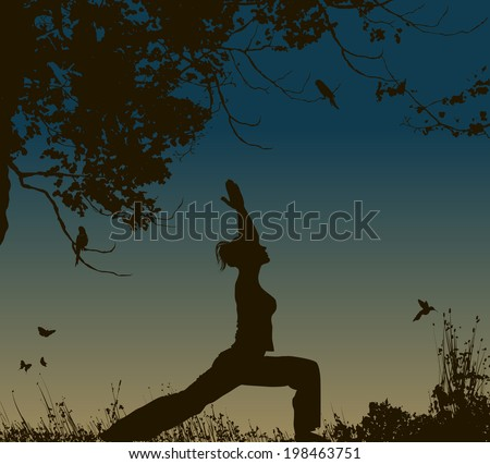 yoga pose at sunset background