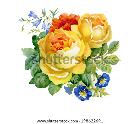 watercolor roses bouquet vector