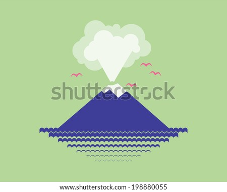 volcano island in the sea