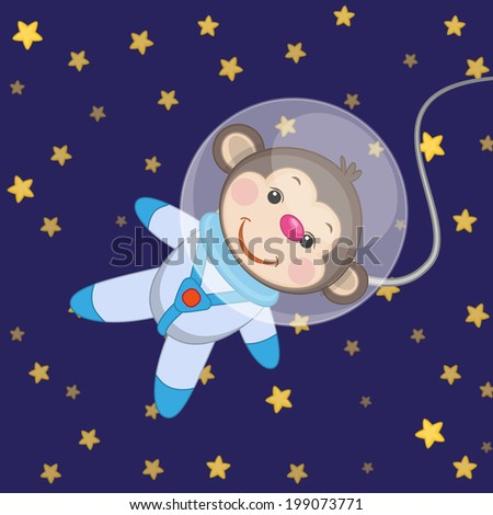 monkey astronaut on a stars