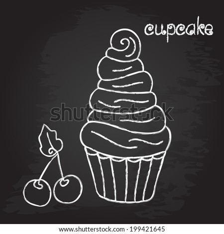 cupcake chalk design vector